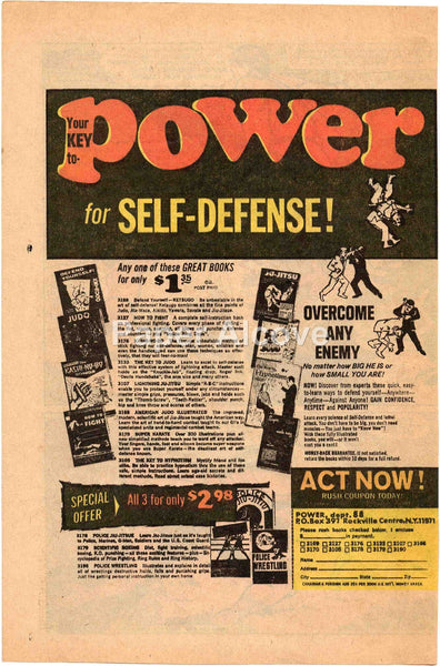 Your Key to Power for Self-Defense 1968 vintage original old comic magazine ad martial arts karate kung fu judo ju-jitsu Rockville Centre NY