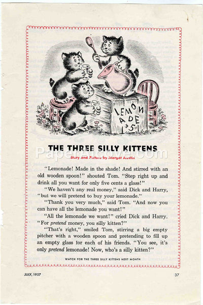 Three Silly Kittens Lemonade Stand 1957 old vintage print Margot Austin illustrated page