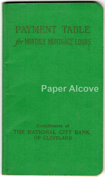 National City Bank vintage 1950 amortization schedule book Cleveland OH Payment Table for Monthly Mortgage Loans
