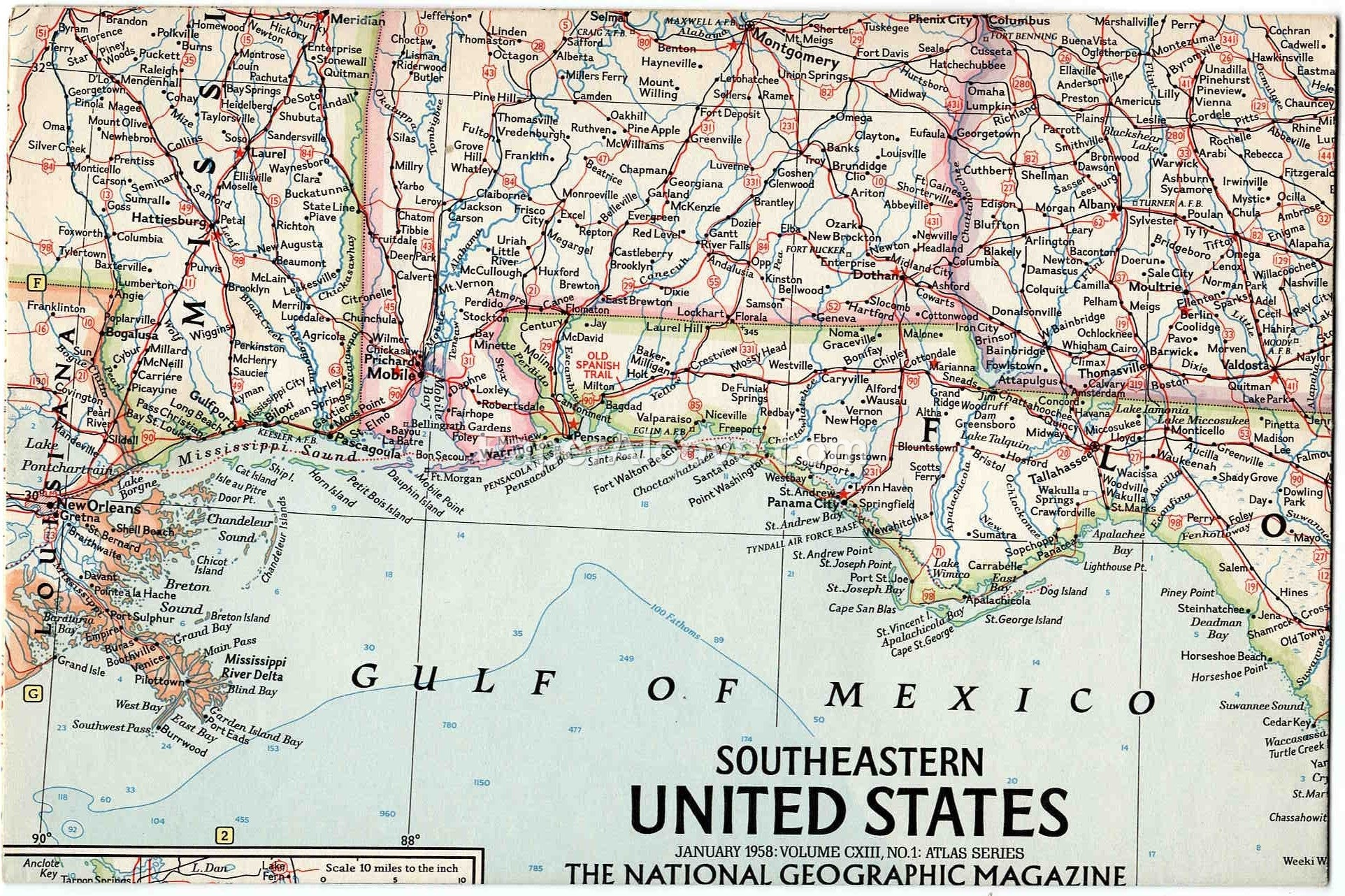 Southeastern United States 1958 vintage old map National Geographic