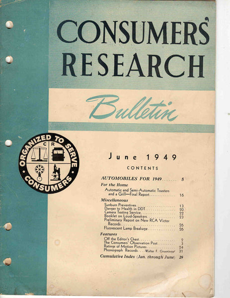 Consumers' Research Bulletin June 1949 magazine automobiles
