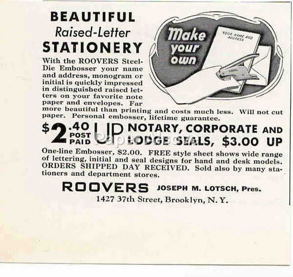 Roovers Steel-Die Embosser 1942 ad Make Your Own Raised Letter Stationery Brooklyn NY #237