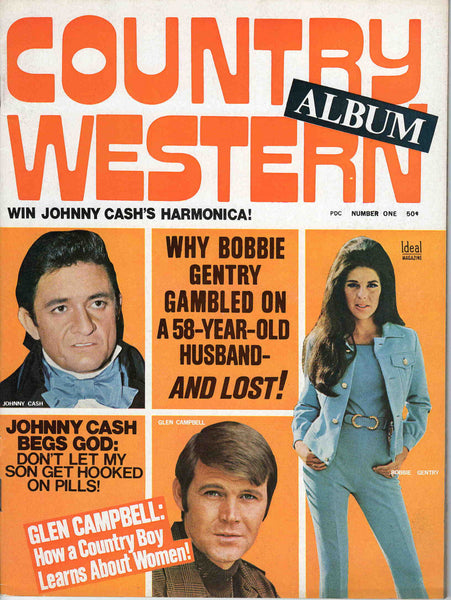 Country Western Album 1970 No. 1 music magazine Johnny Cash Glen Campbell