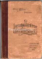 International Conference of the Epworth League Official Souvenir Programme 1893 vintage antique book Methodist Church program