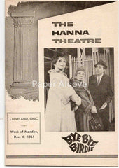 Hanna Theatre playbill Bye Bye Birdie 1961 original old vintage program Cleveland OH Playhouse Square #B72