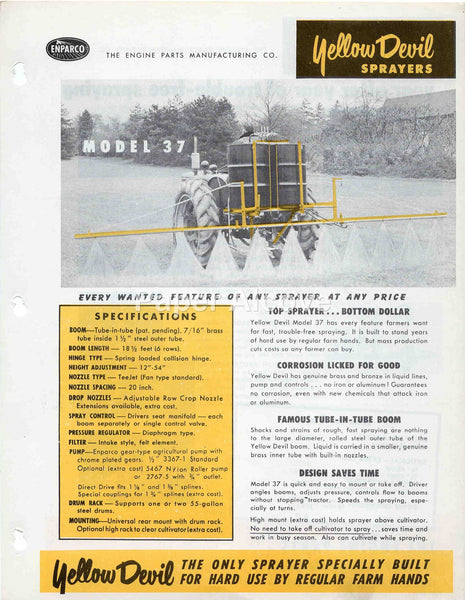 Yellow Devil Model 37 Sprayer vintage original brochure 1950s-60s Enparco Cleveland Ohio farm equipment