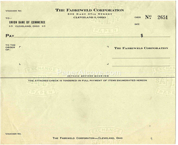 Fabriweld Corporation vintage blank check c. 1940s-1950s old postal zone original Union Bank of Commerce Cleveland Ohio