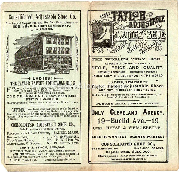 Consolidated Adjustable Shoe Co. late 1800s vintage Taylor Shoes original advertising brochure Salem MA Cleveland OH