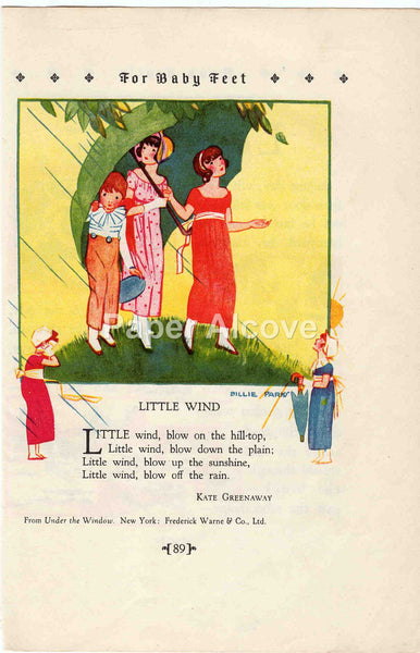 Little Wind 1928 Antique Print Kate Greenaway Billie Parks Children's Book Illustration Nursery Decor
