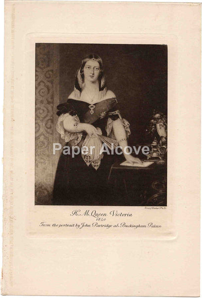 H.M. Queen Victoria 1840 Emery Walker old vintage print John Partridge Buckingham Palace England