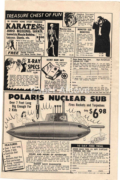 Polaris Nuclear Sub X-Ray Specs Monster-Size Monsters mail order 1968 vintage original old comic magazine ad Honor House Prod. Co. Lynbrook NY