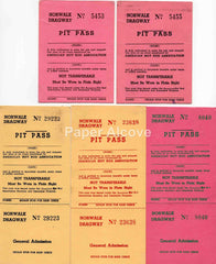 Norwalk Dragway Pit Pass lot of 5 vintage passes AHRA Ohio drag racing car