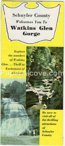 Watkins Glen Gorge 1960s vintage original old travel brochure Schuyler County Finger Lakes Lake Seneca Grand Prix