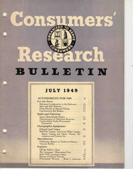 Consumers' Research Bulletin July 1949 magazine automobiles