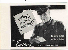 Eaton's Fine Letter Papers 1942 ad mailman mail carrier delivering letter #237