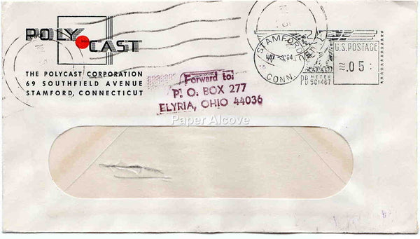 Polycast Corporation 1964 vintage Postal Cover trade commercial advertising Stamford CT Elyria OH