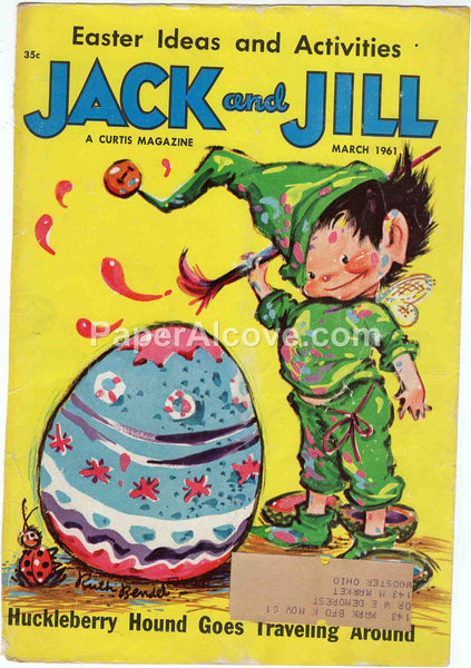 Jack and Jill March 1961 old vintage magazine cover only fairy painting Easter egg Ruth Bendel