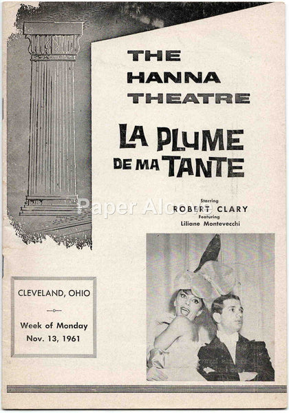 Hanna Theatre playbill La Plume de ma Tante 1961 original old vintage program Cleveland OH Robert Clary Playhouse Square #B72