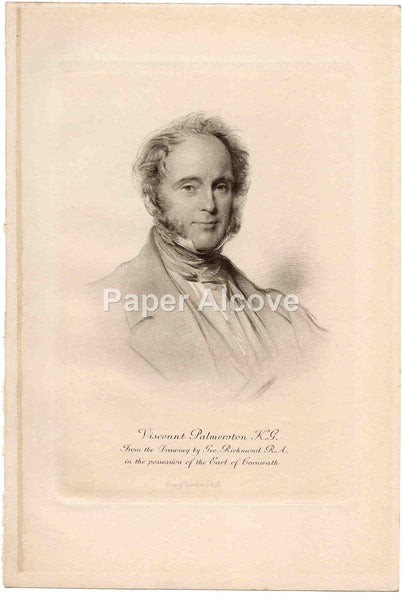 Viscount Palmerston K.G. Emery Walker old vintage print George Richmond Earl of Carnwath England
