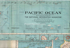 Pacific Ocean 1936 vintage old map National Geographic Pacific Island Hawaii