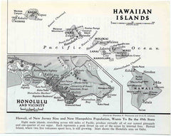 Hawaiian Islands pre-statehood 1949 old map Theodora P. Thompson Irvin E. Alleman Hawaii