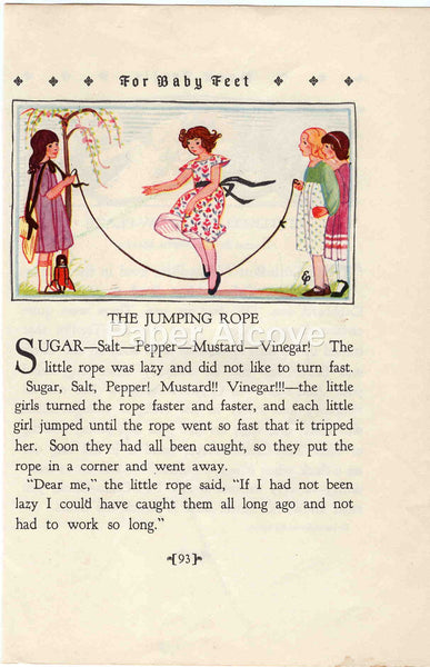 The Jumping Rope 1928 Antique Print Children's Book Illustration Nursery Decor