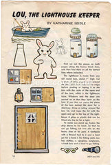 Lou the Lighthouse Keeper 1961 old vintage print Katharine Seidle rabbit paper doll illustrated page