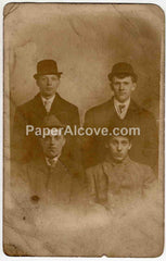Four men with hats souvenir from the bachelor vintage real picture postcard early 1900s divided back photograph rppc unused cleveland