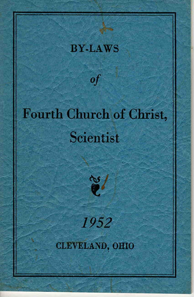 By-Laws of Fourth Church of Christ Scientist 1952 Booklet Cleveland OH