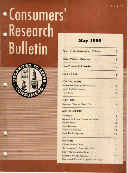 Consumers' Research Bulletin May 1950 magazine