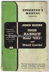John Deere Model KBA Disk Harrow and Wheel Carrier original vintage Operator's Manual OM-B42-1054
