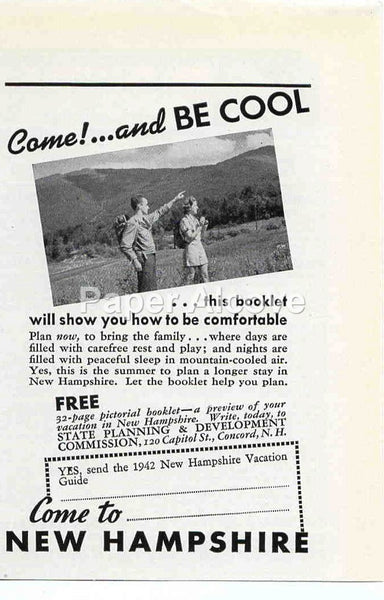 New Hampshire State Planning and Development Commission Come! and be cool 1942 ad Summer Vacation #237