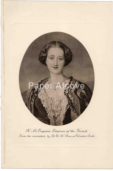 H.M. Eugenie Empress of the French old vintage print Sir W.K. Ross Windsor Castle England