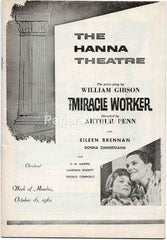 Hanna Theatre playbill The Miracle Worker 1961 original old vintage program Cleveland OH Playhouse Square #B72