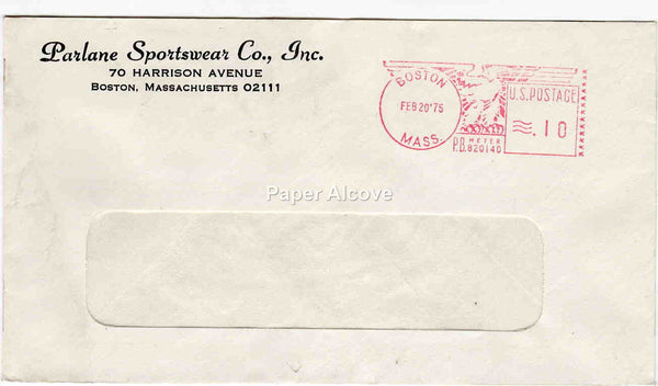 Parlane Sportswear Co., Inc. 1975 vintage Postal Cover trade commercial advertising Boston MA fashion