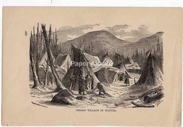 Indian Village in Winter 1883 old vintage antique engraving print Van Ingen Snyder native american
