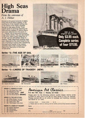American Art Classics nautical ship prints 1976 vintage original old magazine ad