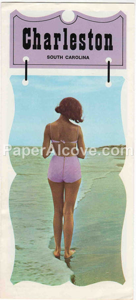 Charleston South Carolina 1967 vintage original old travel brochure beach bikini