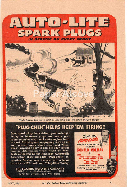 Auto-Lite Spark Plugs hillbilly cartoon 1944 vintage original old magazine ad Electric Toledo OH Ronald Colman radio show