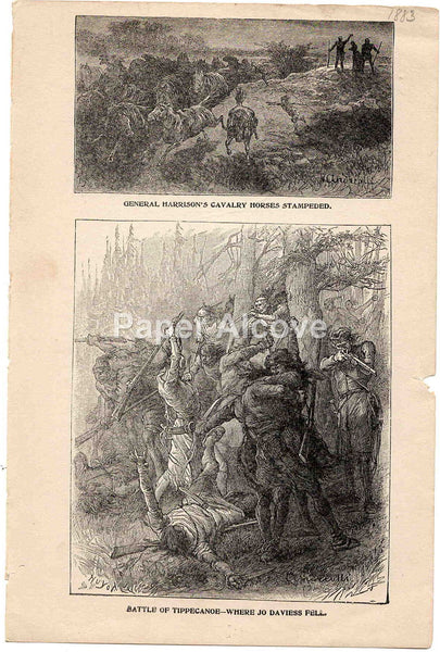 Battle of Tippecanoe Where Jo Daviess Fell 1883 old vintage antique engraving print Elviro Michael Andriolli Huyot native american indian Tecumseh's War