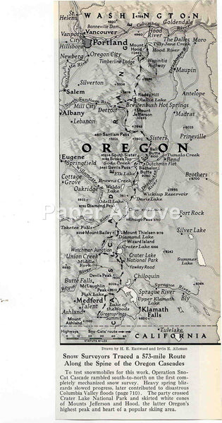 Oregon Cascades Mountains 1949 old map Operation Sno-Cat Cascade surveying expedition H.E. Eastwood Irvin E. Alleman