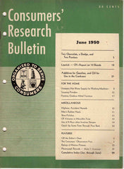 Consumers' Research Bulletin June 1950 magazine Chevrolet Ford V-8