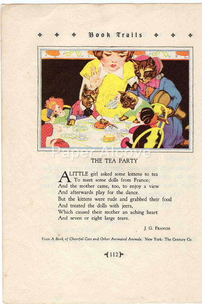 The Tea Party 1928 Antique Print J.G. Francis poem Children's Book Illustration Nursery Decor little girl with cats and dolls