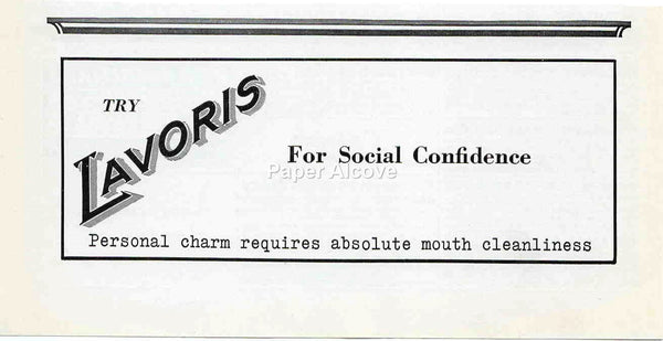 Lavoris Mouthwash for social confidence 1942 ad Personal charm requires absolute mouth cleanliness #237