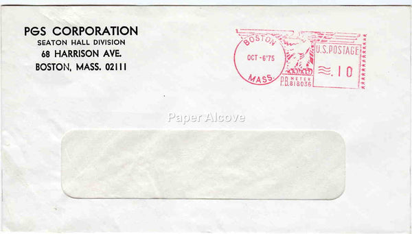 PGS Corporation Seaton Hall Division 1975 vintage Postal Cover trade commercial advertising Boston MA