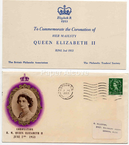 Coronation of H.M. Queen Elizabeth II June 2 1953 First Day Cover Postal FDC London England Postmark