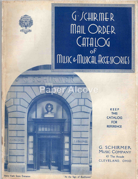 G. Schirmer Music Co. 1930s vintage original Catalog New York Cleveland OH Arcade musical accessories sheet music