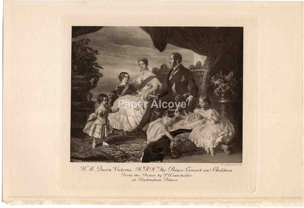 H.M. Queen Victoria H.R.H. The Prince Consort and Children old vintage print Emery Walker F. Winterhalter Buckingham Palace England