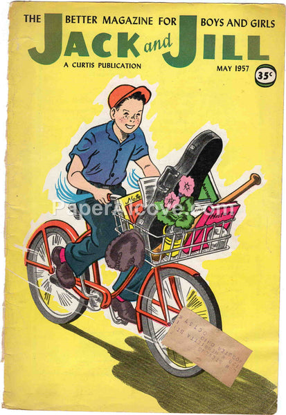 Jack and Jill May 1957 old vintage magazine cover only boy bicycle