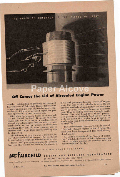 Fairchild Engine and Airplane Corporation 1944 vintage original old magazine ad WWII war effort